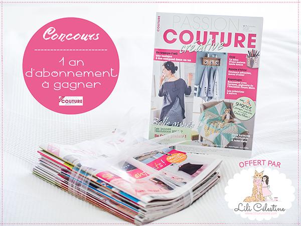 gagner 1 an d 39 abonnement au magazine passion couture. Black Bedroom Furniture Sets. Home Design Ideas