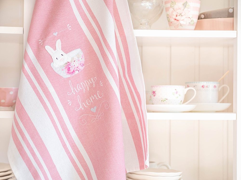 Tea Towel - Happy Home Bunny
